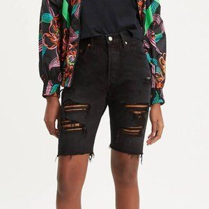 Levi's Black 501 High Rise Ripped Slouch Shorts 27